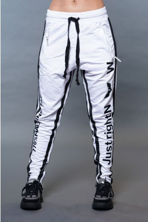 White Jogger Pants Side Stripe JUST RIGHT