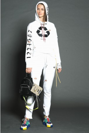 White Color Jogger Two Piece Set RECYCLE