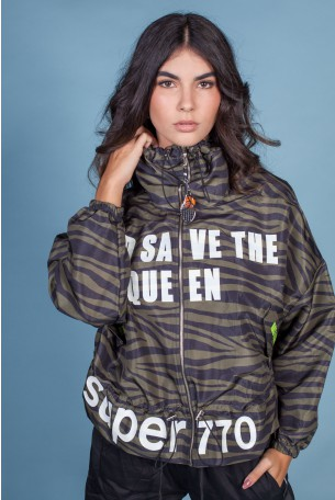 Black Olive Green Zebra Nylon Jacket QUEEN