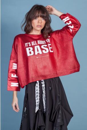 Red Metalic Knit Shirt BASE