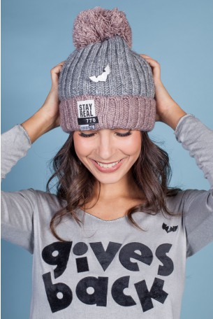 Gray Knit Hat STAY REAL