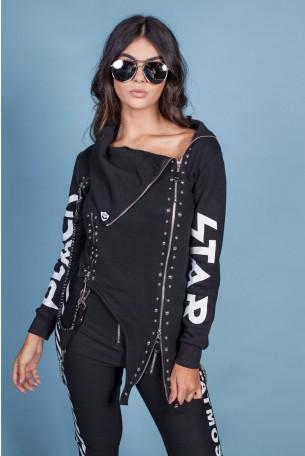 Elegant Black Jacket Asymmetric STAR