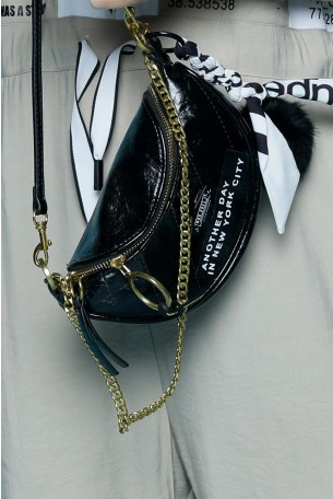 Black Faux Leather Pouch NEW YORK