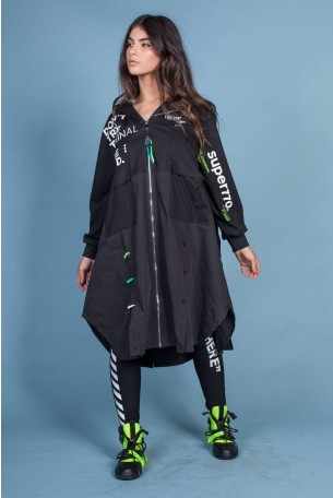Black Hooded Long Jacket D'ONT