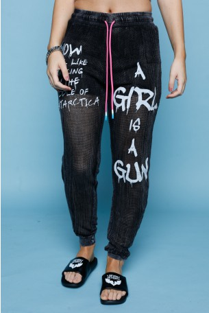 Black Netted Coton Jogger Pants WARNING