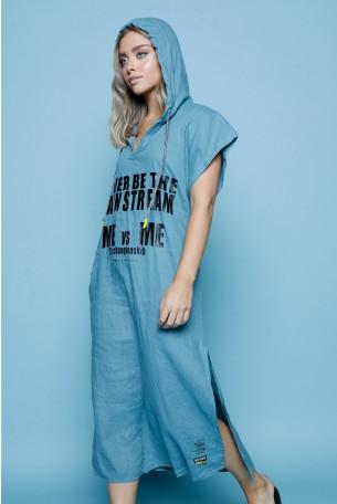 Linen  Hooded  Turquoise Dress MAIN STREAM