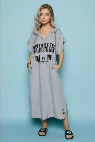 Linen  Hooded  Gray Dress MAIN STREAM