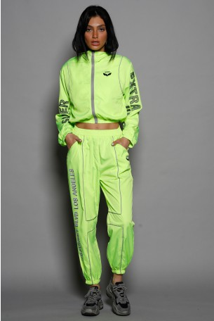 Neon Yellow  Two Piece Jogger Suit EXTRA