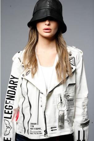 Unique Design White Denim Jacket  LEGENDARY