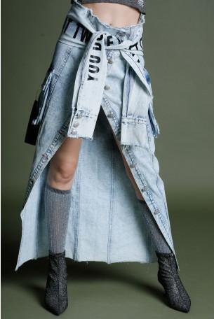 Unique Cut Denim Skirt MOMENT