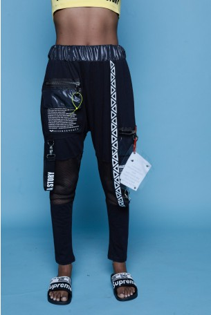Black Sacky Jogger Pants ABSTRACT