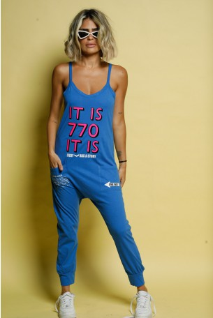 Blue Cotton Baggy Tank Overall IT IS