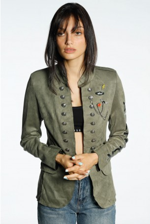 Olive Green Suede Blazer Cut Jacket BLACK