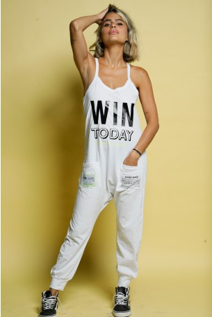 White Cotton Baggy Tank Overall WIN