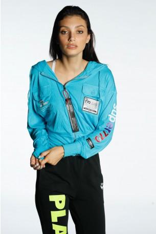 Light Blue Hooded Zipper Jacket SUPER770