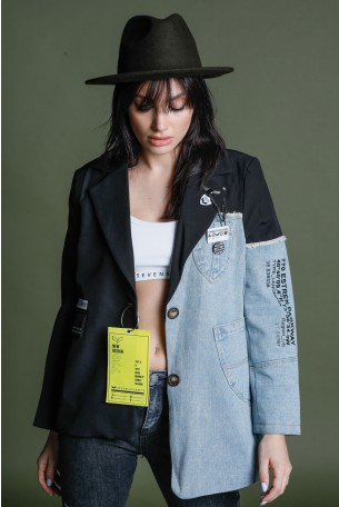 Black And  Denim  Unique  Design Blazer NOW OR NEVER