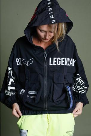Black   Hooded Zipper Jacket LEGENDARY