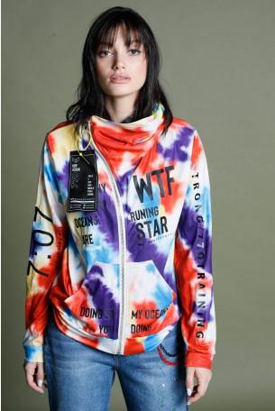 Multicolor Tie Dye  Hooded Zipper Jacket STAR