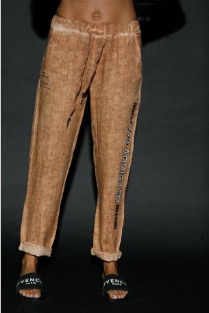 Designed Brown Linen Pants ADDICTED