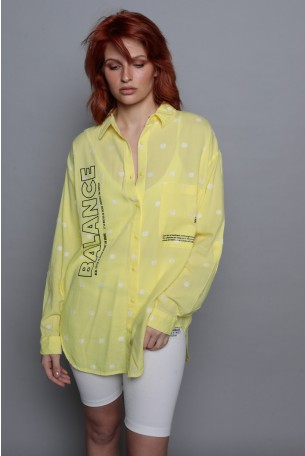 Yellow Dots  Long Sleeve  Buttoned Up  Top  BALANCE