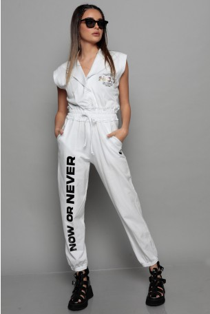 White Short Sleeve Pullover Overall NO 7