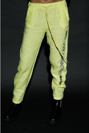 Designed Yellow Linen Pants ADDICTED