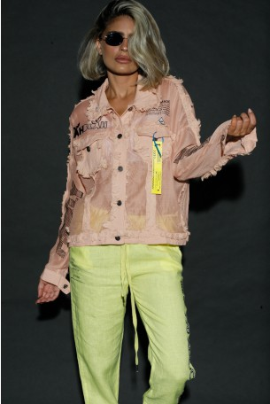 Pink buttoned Up Top Jacket HAND MADE