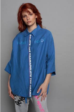 Blue  Short  Sleeve Buttoned Up  Wide Top TALENT