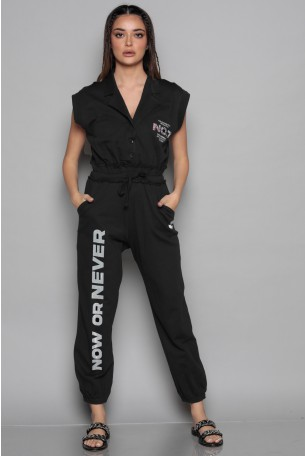 Black Short Sleeve Pullover Overall NO 7