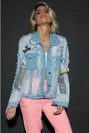 Light Blue buttoned Up Top Jacket HAND MADE