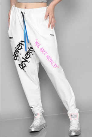 Designed White Pullover Baggy Joggers ART