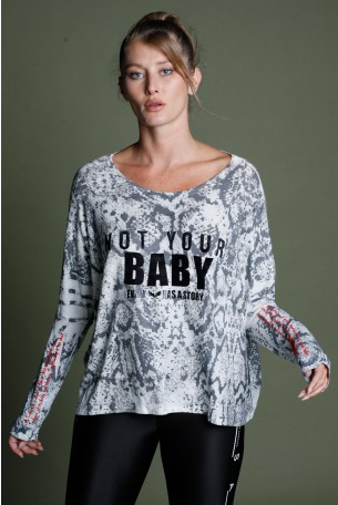 Long Sleeve Snake Print Gray Top Uniqe Cut BABY
