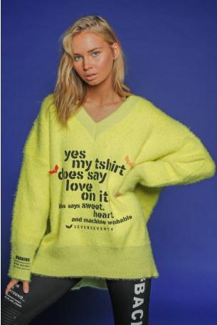 Yellow Fleece V Neck  Sweater Top LOVE
