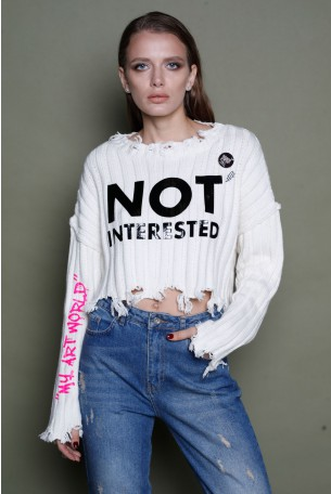 White Knitted Destroyed Top NOT