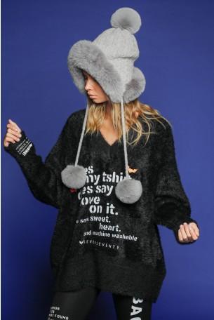 Black Fleece V Neck  Sweater Top LOVE