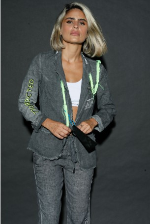 Grey Linen Blazer Jacket ADDICTED