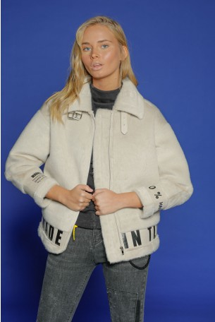 Ivory Faux Fur Designed Jacket   MADE IN TLV