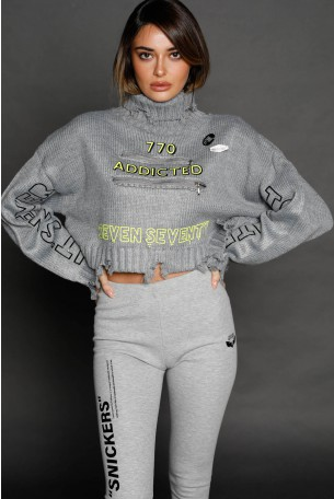 Gray Knitted Destroyed Crop  Top ADDICTED