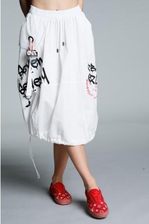White Designed Baggy Midi Skirt URBAN GIRL