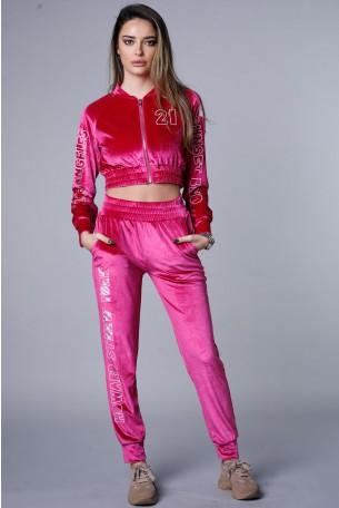 Pink Two Piece Velvet Jogger Set TRAINING