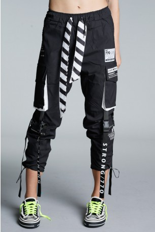 Designed Black Jogger Pants ATTITUDE