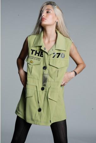 Olive Green Designed Vest SEVEN