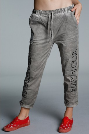 Designed Grey Cotton Pants TOO LATE