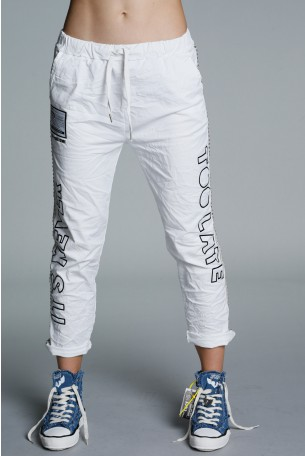Designed White Cotton Pants TOO LATE