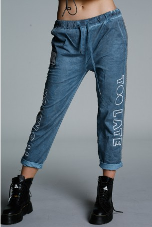 Designed Denim Blue Cotton Pants TOO LATE