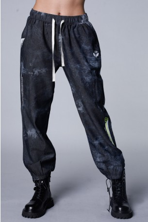 Gray Colors Tie Dye Fine Denim Pants ATTITUDE
