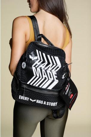 Black Handmade Unique Back Pack HANDMADE