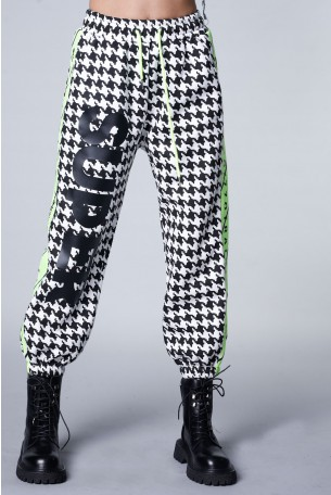 Designed Black And White DogtoothCotton  Joggers STRONG