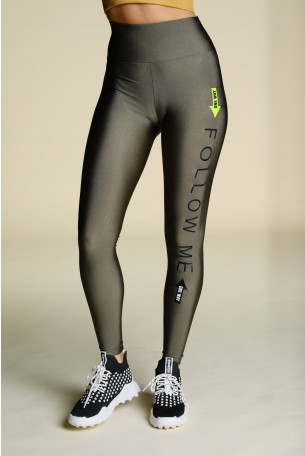 Olive Green Designed Leggings FOLLOW