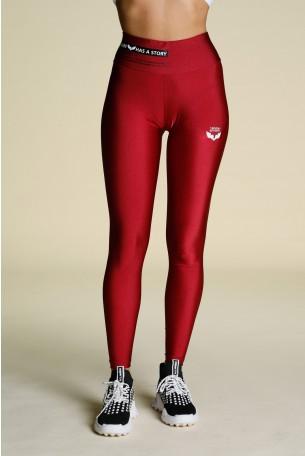 Burgundy Red Designed Leggings STORY